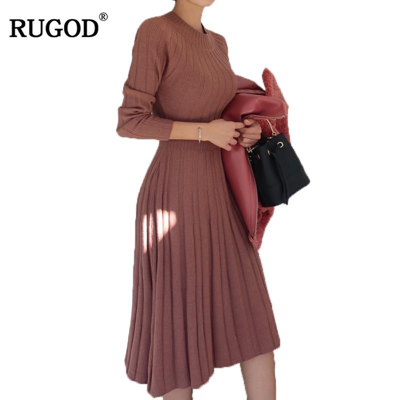 RUGOD 2018 New Tunic Design Pleated Dress Women Sweater Dress Female Round Neck Long Sleeve Solid Pullover Knitted Dress Vestido alfani women s long sleeve marilyn cowl neck tunic sweater emerald 2x
