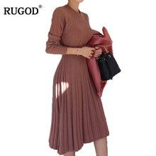 Rugod 2018 новый туника Дизайн плиссированное платье Для женщин Платья-свитеры круглым Средства ухода за кожей шеи с длинным рукавом твердых пуловер вязаное платье Vestido
