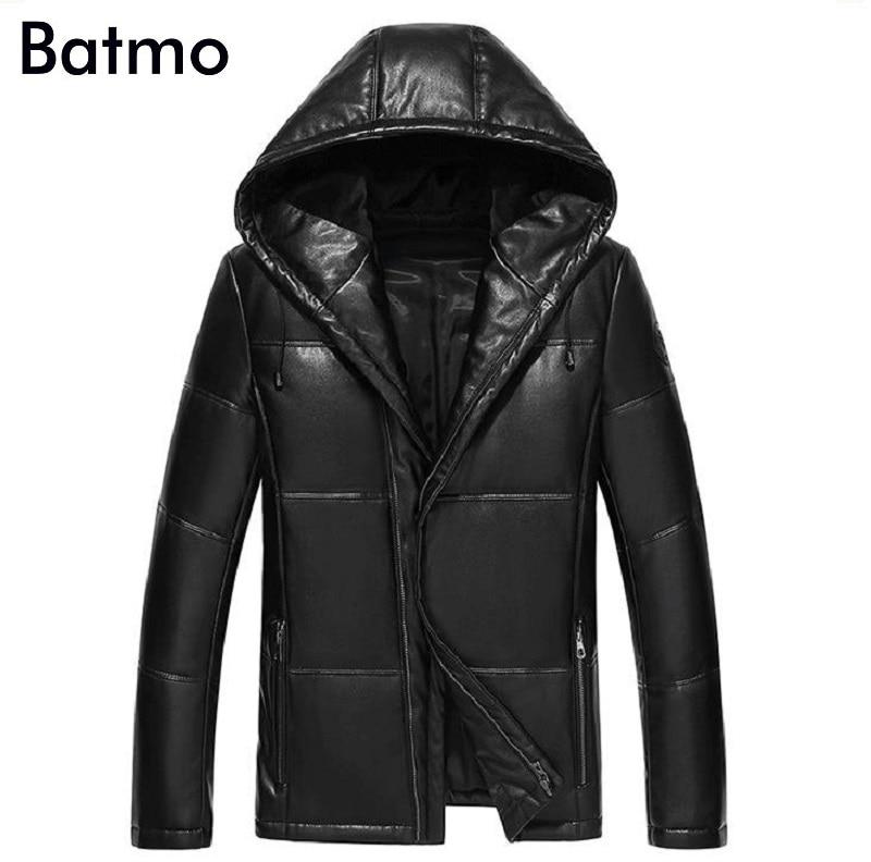 Batmo 2017 new arrival winter high quality PU 95% white duck down hooded jacket men,warm coat men 1720