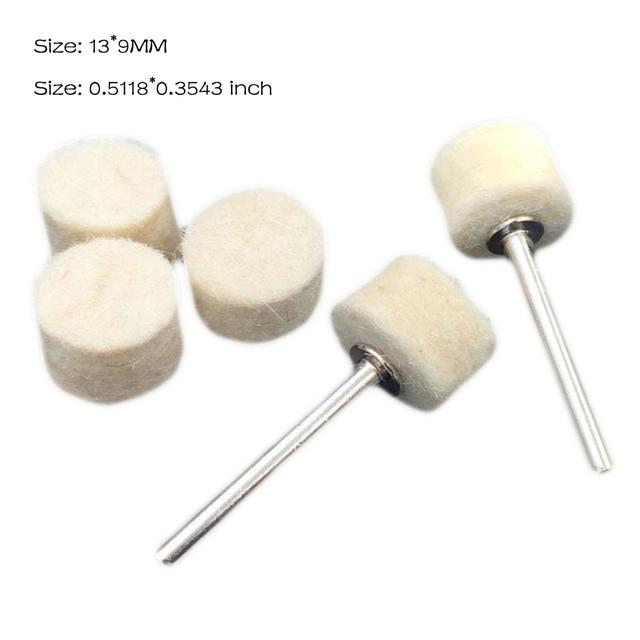 Caldo! 100Pcs 13 millimetri di Lana di Feltro di Lucidatura di lucidatura Pad + 2 Shank Per Dremel Rettifica Ruota