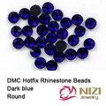 Strass Cristal E Pedras Para Vestuário Acessórios DMC Natator Hotfix Strass De Vidro Redonda Azul Escuro Diamantes DIY Decoração