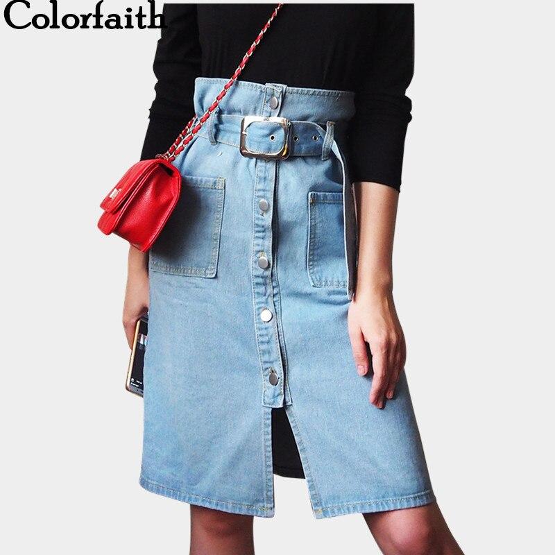 Colorfaith 2019 New Autumn Spring Women Strap Skirt Casual Spaghetti Buttons Belt Denim High Waist Pockets Midi Skirt DR6215