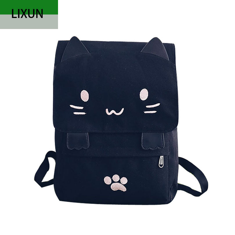 Cartoon Cute Cat Canvas Women Backpack Embroidery Backpacks For Teenage Girls School Bag Casual Black Printing Rucksack Mochilas цена