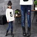 2016 зима детская одежда девочек джинсы причинным тонкий сгущает руно девочка джинсы для девушки дети синий жан длинные брюки