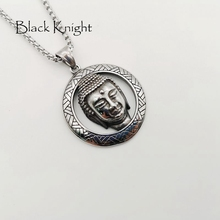 Black Knight religious circle Buddha pendant necklace Vintage silver color stainless steel Buddhism Buddha necklace BLKN0782 handcrafted 100% 999 silver buddha head pendant vintage pure silver buddha statue amulet pendant buddha