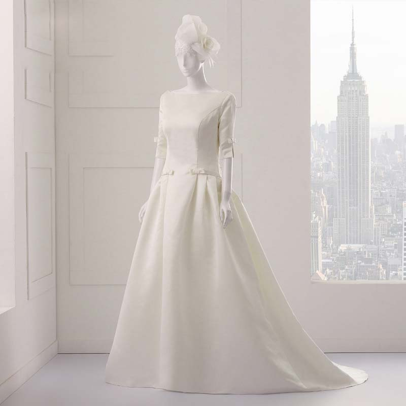 Real Maine Weddings 2017: Real Samples Ball Gown Wedding Dress 2017 Boat Neck 3/4
