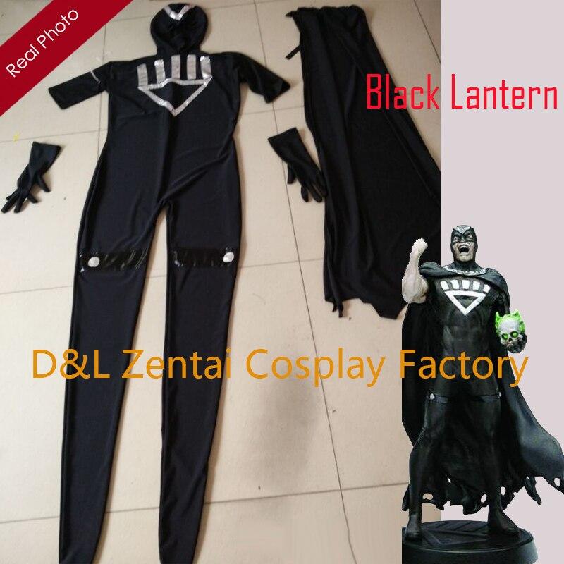 Hell Freies Verschiffen Dhl Erwachsene Lycra Spandex Schwarz Laterne Schwarz Hand Kostüm Mit Cape Halloween Party Kostüm Sh0140