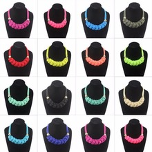 Short Candy Neon Color Necklaces Jewelry Chunky Statement Handmade Knitted Rope Choker Collar Girls Women Necklace