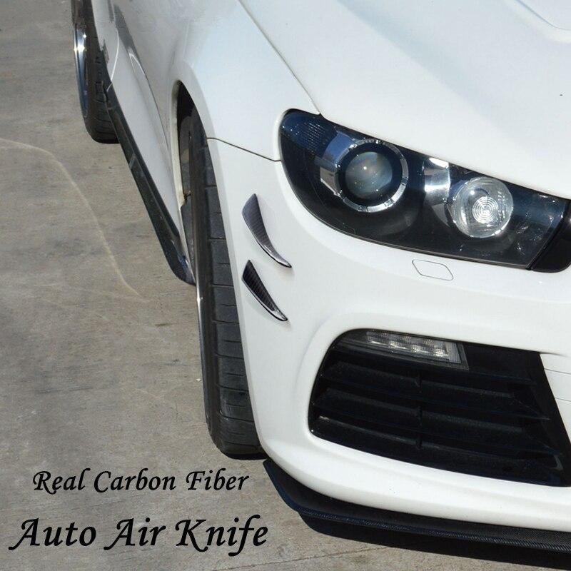 Pare-chocs avant universel en Fiber de carbone véritable becquet Air couteau avec accessoires de bande pour bmw benz Volkswagen vw golf 4 5 6 7 force 2