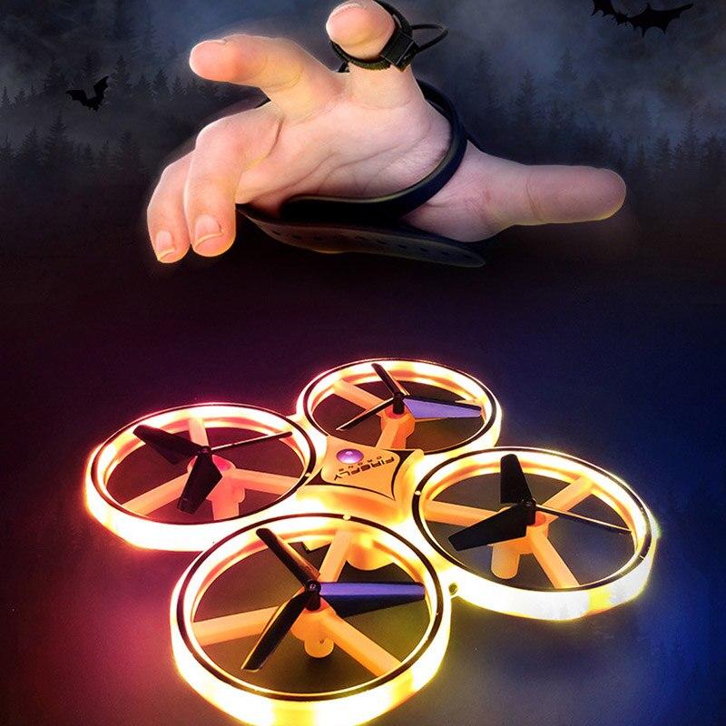 Anti-collision UFO Mini Drone main volant Globe quadrirotor télécommande LED hélicoptère LED Induction avion volant RC jouets