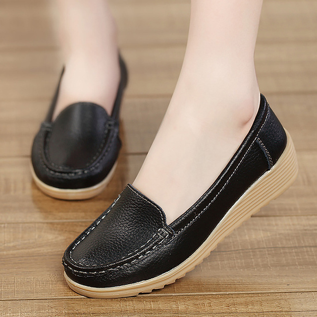 026608252e89f US $13.14 49% OFF Shoes women casual loafers flats genuine leather slip on  sewing spring/autumn shoes synthetic waterproof female shoes-in Women's ...