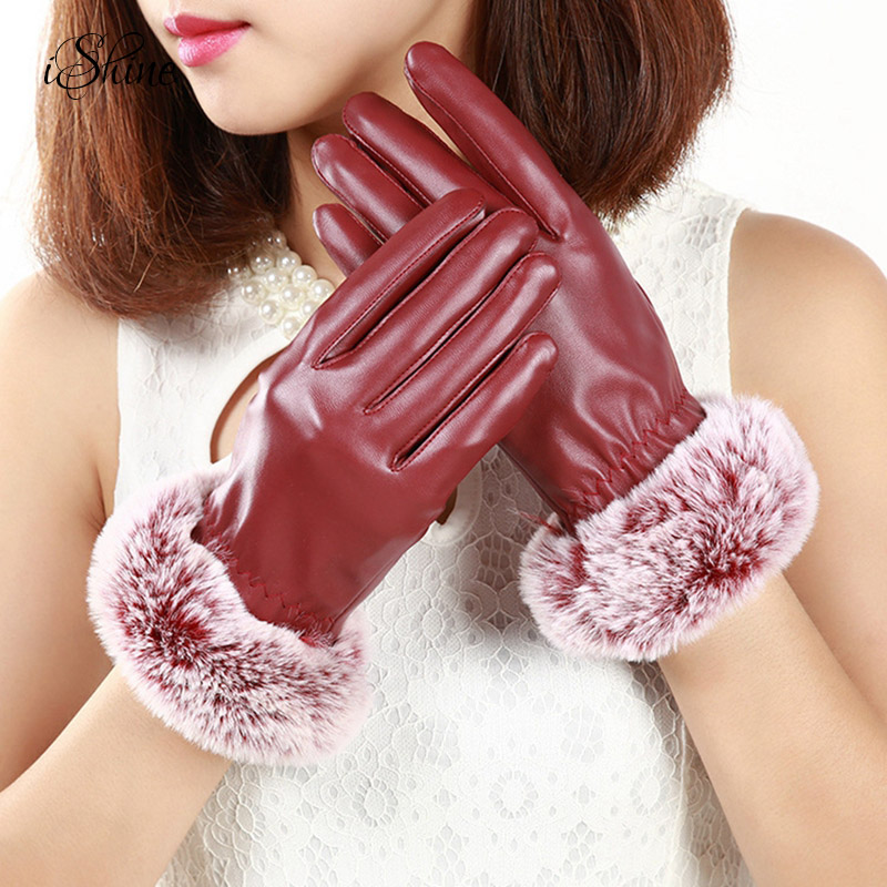 Women PU Leather Feel the Screen Thickened Velvet Gloves Windproof Winter Warm Keeping Outdoor Gloves with Faux Cony Hair Cuffs
