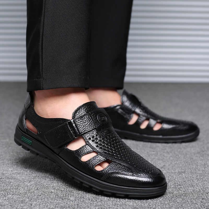 BIMUDUIYU hakiki deri erkek yaz sandalet nefes alan günlük ayakkabılar adam kapalı ayak plaj ayakkabısı lastik taban erkek sandalet