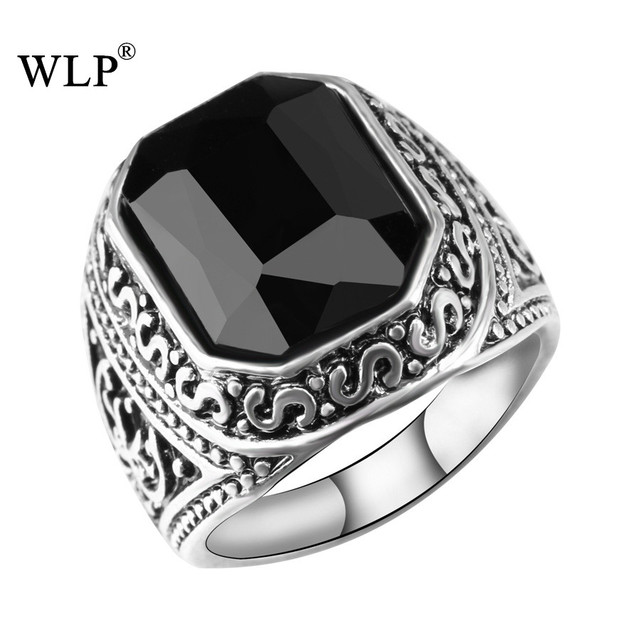 WLP Black&Red Stone Finger Ring Men and Women Silver Plated Fashion Vintage Ring