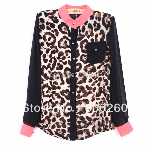 women clothing Fashion women blouse Chiffon Blouse Long Sleeve pocket Leopard patchwork shirt