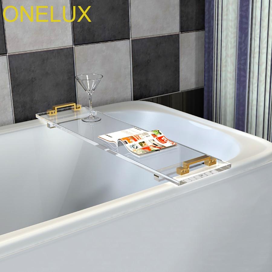 Custom made durable clear acrylic bathtub tray caddy with metal ...