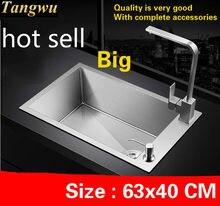 Fregadero manual de cocina para apartamento, envío gratis, fregadero individual de acero inoxidable 304 de grado alimenticio, 63x40 CM