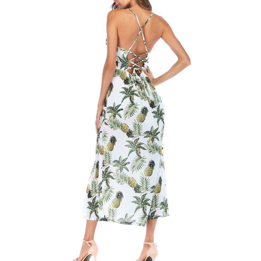 womens summer dress Pineapple Long Boho Dress Lady Beach Summer Sun drss Maxi Green Dress vestido de verano de las mujeres