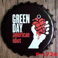 40 cm Rodada Green Day Alívio Tampa De Garrafa Tin vintage pub Sign Bar casa Wall Decor art Metal Poster