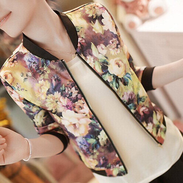 2018 New Autumn Women Bomber Jacket Vintage Sweet Floral Collar Long-sleeved Bomber Short Print Zipper Jacket Coats