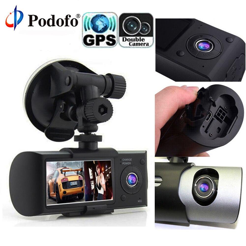 Podofo dvr de voiture Double Lentille R300 Dash Cam GPS Registrator 140 Degrés enregistreur vidéo G-Capteur 2.7 Conduite Recorde Auto enregistreur