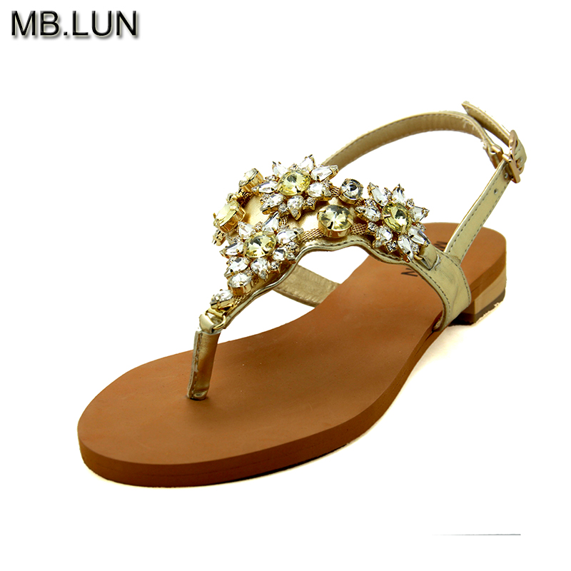 Handmade Genuine Leather Flat Flip Flops Women 2017 Rhinestones Sandals,Summer Shoes Woman ,Ladies Sandals Plus size 12 MB.LUN 2017 fashion melissa jelly rhinestones flip flops bow glitter sandals women stransparent flat single shoes
