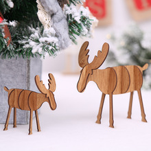 Handmade Wooden Christmas Reindeer Creative Natural Wood Craft Baubles Home Office Table Decor Holiday Christmas Gift AF021