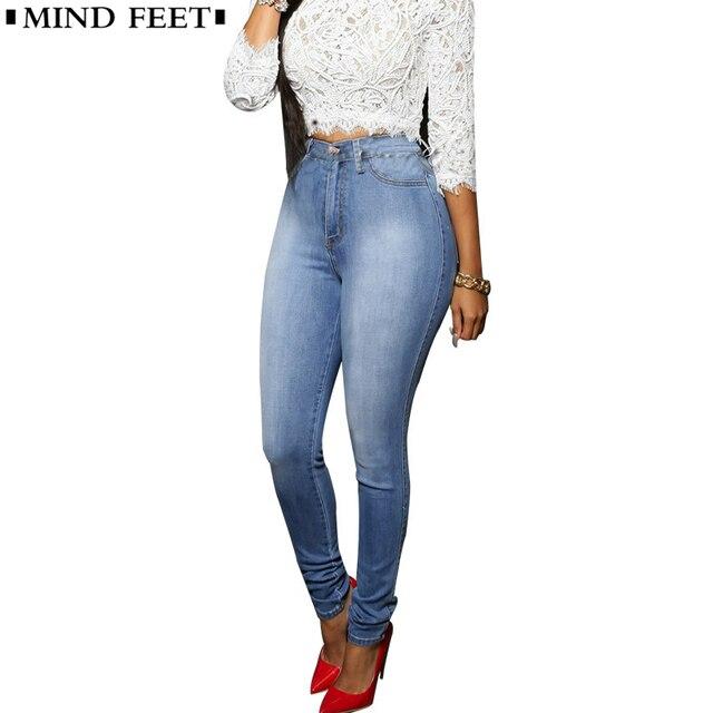 revisa 9b059 1ee54 € 14.09 36% de DESCUENTO|Mente los pies de las mujeres pantalones vaqueros  de cintura alta elástico Slim lápiz pantalones de mezclilla ajustados ...