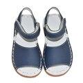 Los bebés de las sandalias 2017 del verano niños rosa blanco azul marino clásicos para las niñas niño zapatos chaussure handsewing llano sandalias