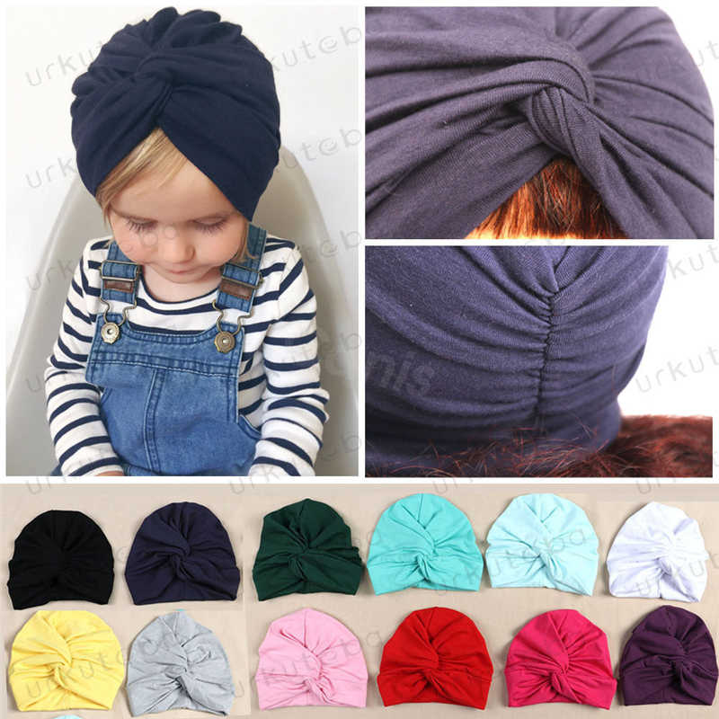 New Toddler Kids Baby Turban Head Wrap Hat Children Girls Cotton Blends Hat Lovely Soft Cute
