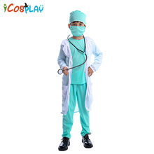 2019 new childrens doctor role-playing costume Halloween Childrens school professional experience clothing export party