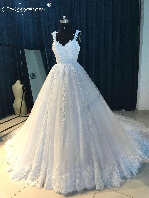 Romantic White Lace Princess Beaded Wedding Dresses 2018 Sweetheart ...