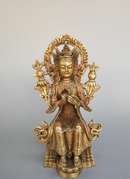 Chinese pure brass lotus Goddess of mercy Buddha statue