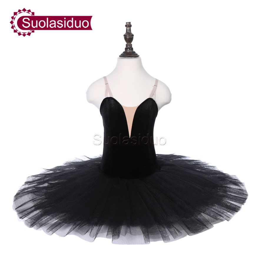 Girls Black Professional Ballet Tutu Apperal The Nutcracker Performance Competition Dance Costumes Kids Skirt