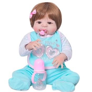 57cm full Body Silicone Reborn Baby Girl boy Dolls Toy Play House Lifelike Newborn Babies alive bebe Doll Reborn  npk