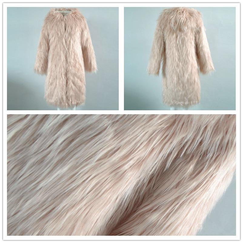 Hooded Fluffy Long Faux Fur Coat Womens Winter Fake Fur Streetwear Pink Female Fashion Colored Fur Coats Outerwear 2017 A10172