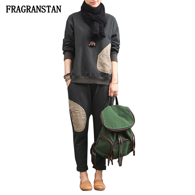 Qualité Army Costume Long Femmes Automne Printemps Élastique Mode Haute Ensemble Gray Deux Green Pantalon Pull Taille Casual 2018 cou Femelle Lâche Pièces O Q73 dark HA1wqUH