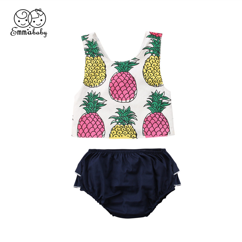 Summer Baby Girls Clothes Set Newborn Baby Girl Sleeveless Pineapple Printed Tops+Shorts Pants 2Pcs Outfits Kids Clothing Set