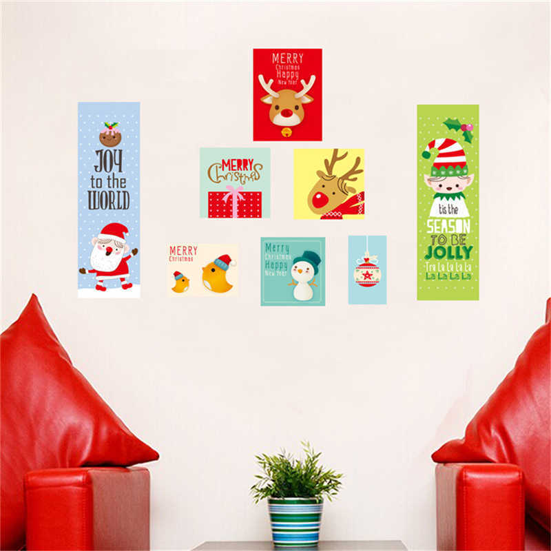 Image 2 - Cartoon Santa Claus Wall Stickers Wall Art Removable Home Decal Party Decor Merry Christmas Window Film Stickers-in Wall Stickers from Home & Garden