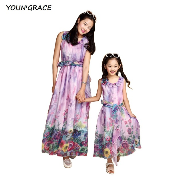 2016 New Arrival Summer Floral Chiffon Dress for Mother and Daughter Brand Bohemian Style Princess Girls & Lady Moms Dress, C199