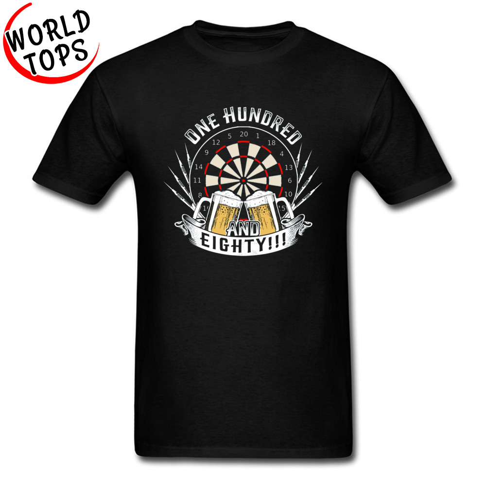 Darts Shoot Beer Game Graphic T-Shirts One Hundred And Eighty Dart Beer 100% Cotton Top Quality Clothing Shirts 2019 Custom