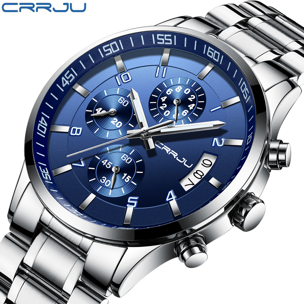 CRRJU Brand Black Fashion Full Steel Mens Quartz Watch chronograph Date Clock Male Sport Military Wristwatches Relogio Masculin fashion black full steel men casual quartz watch men clock male military wristwatch gift relojes hombre crrju brand women watch