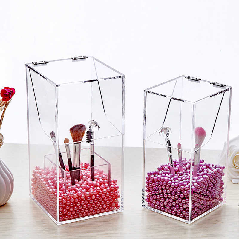 Crystal Acrylic Makeup brush Lipstick Organizer cosmetic case storage box Makeup tool Flashing pencil holder Plastic Pearl Sale