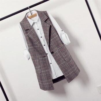 Plaid suit vest female spring and autumn large size 2018 New Retro sleeveless fashion long section parka