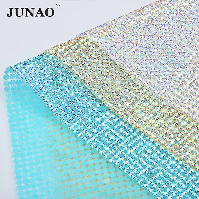 JUNAO 24 40cm Crystal AB Rhinestone Mesh Trim Crystal Fabric Sheet Hotfix  Resin Beads Appliques 294744589fae
