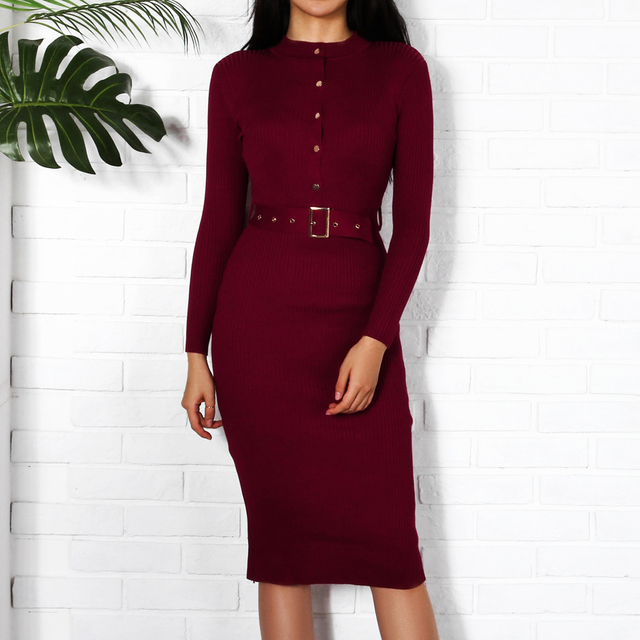 Women Midi Sweater Dress Autumn Winter 2018 New Fashion Button Long Sleeve Pencil Dress Knitted Women Bodycon Dress Black Red