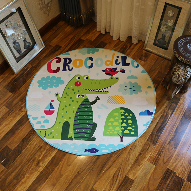 New Halloween series cartoon Crocodile Round Bathroom Carpets Living Room Doormat Kid Room Rugs Door Floor chair Mat For Bedroom