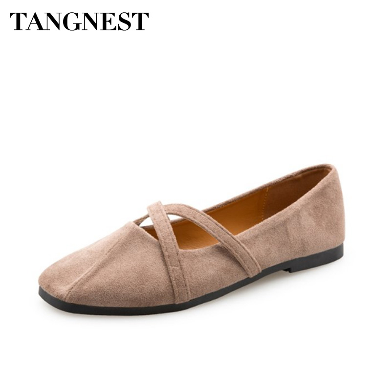 Tangnest Women Ballet Flats PU leather Casual Female Loafers Solid Slip On Square Toe Breathable Women Shoes Spring XWD6460 ladies ballet flats soft sole square toe shoes women low top slip on breathable loafers casual plus size 43 34 green ephemeral
