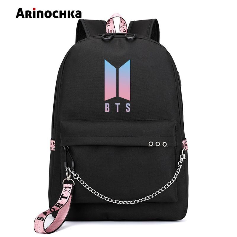 Korean Fashion BTS Bangtan Boys Brief Rucksack LIEBE SELBST USB Lade Reisetasche für Teenager Mädchen Band Ketten Schul