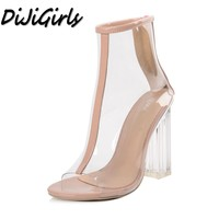 MeiliKeLin Hot Sell Women Transparent Sandals Peep Toe High Heels Shoes Woman Thick Heels Crystal Sandals